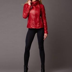 Red lambskin leather jacket with a stand up collar